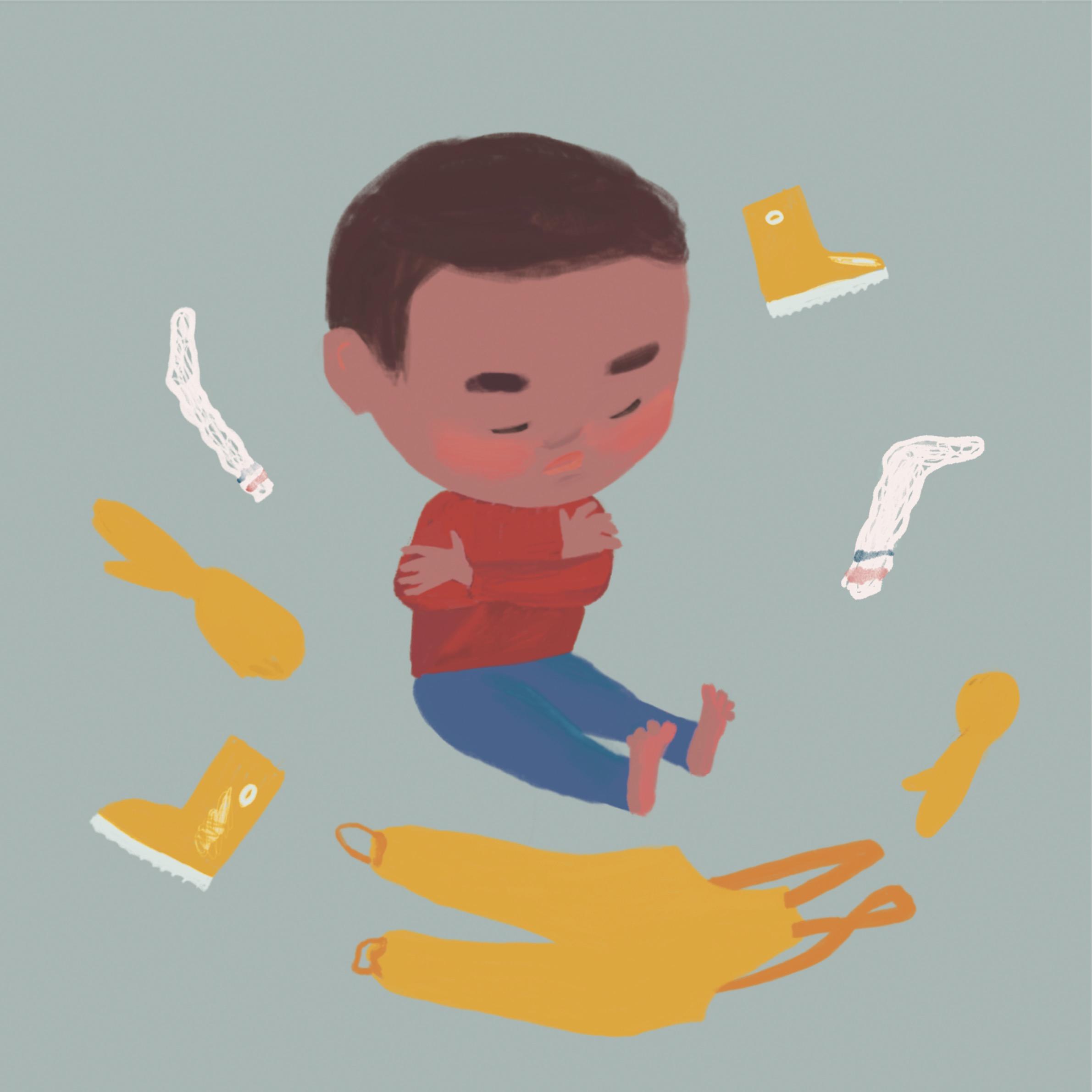 Illustration på ett barn som inte vill klä på sig