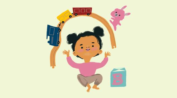 Illustration på barn som leker med tågbana